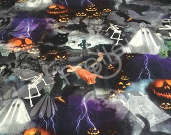 "Knit fabric, jersey fabric, cotton lycra fabric ""Halloween-Fright night"", Digital Print, Oeko Tex, by the half yard, vampire knit,"