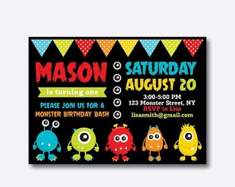 Monster Birthday Invitation, Monster Invitation, Monster Party Invitation, Monster Bash Invitation, Personalized, Chalkboard (SKB.08)