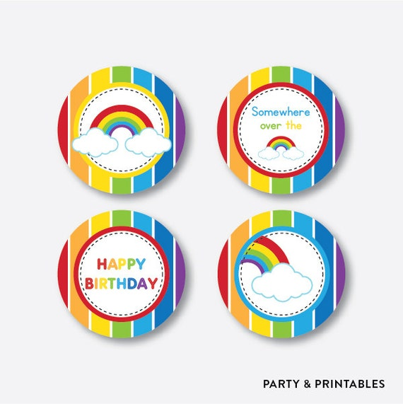 Instant Download Rainbow Cupcake Toppers Rainbow Party