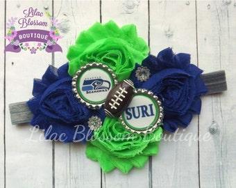 Seattle Seahawks Personalized Baby Headband, Seahawks Baby Girl Bow, Seattle Football Baby Outfit, Infant Seahawks Bow, Baby Girl Seattle