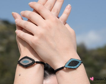 Evil Eye Bracelet, Silver Bracelet, Macrame Bracelet, Chain Silver Bracelet, Jewelry Set Bracelet