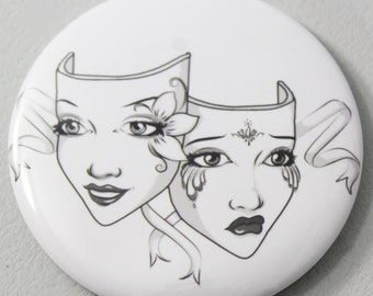 Theatre Comedy Tragedy Mask Pocket Mirror
