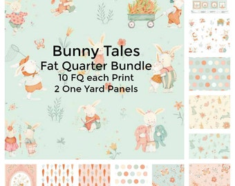 Bunny Fabric - Fat Quarter Bundle - Bunny Tales from Studio e  - Modern fabric - Fabric by the Yard - Quilt fabric - Baby quilt kit