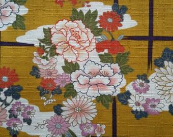 Chrysanthemum. Japanese tree peony. Floral.  Japanese fabric. Japanese cotton fabric. Fabric by half yard or half meter