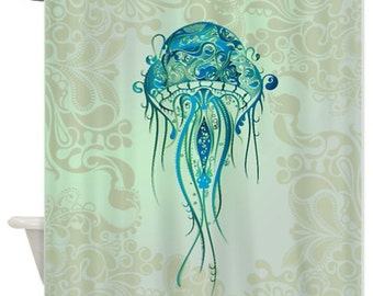 Jellyfish Aqua Blue Design Giant Jelly Fish Shower Curtain