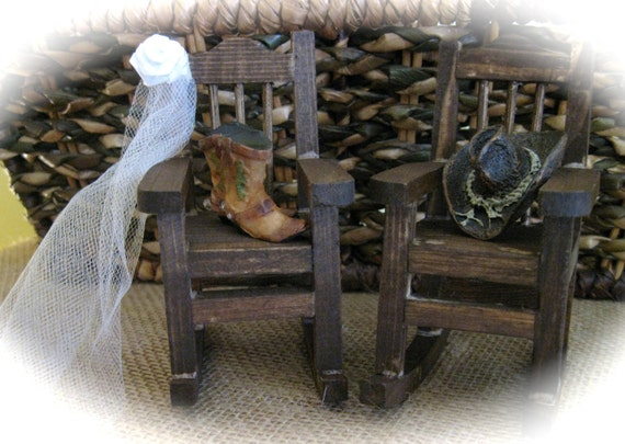 Country Western Barn Rustic Mini Rocking Chair Topper With Boots and Hat