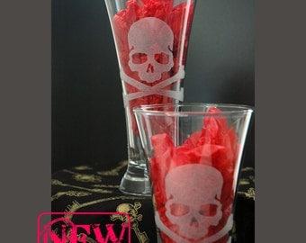 Jolly Roger Poison Pint Glasses Set of 2 Hand Etched , Gothic Decor, Wedding Gift, Skull Crossbones
