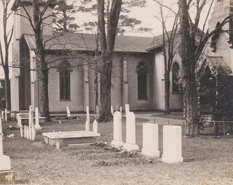 Headstones and Graves Outside a Church - Vintage Real Photo Postcard
