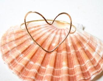 Heart Bracelet, Gold Heart Bangle, Open Heart Bangle, Hammered Heart Bracelet, Love Gift, Valentine Gift