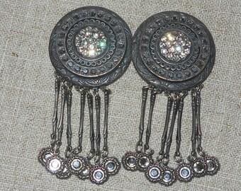 Sparkly celestial crystal earrings - 1980s