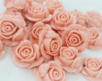 27mm Pastel Dusty Pink Rose Flower Flatback Resin Decoden Cabochon - 5 piece set