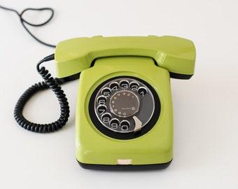 Vintage rotary phone - Green rotary telephone - Retro phone - Old telephone - Green phone - ETA-62 phone