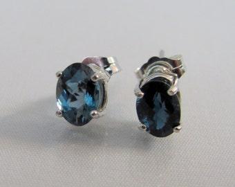 London Blue Topaz Post Earrings in Sterling Silver, Mother's Day Jewelry, 7x5 London Topaz Gemstone,December Birthstone, Topaz Stud Earrings