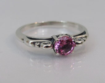 Pink Sapphire Ring in Sterling Silver, Scroll Ring, Lab Grown Pink Sapphire, 5mm Pink Sapphire Gemstone, Solitaire Ring, Pink Ring