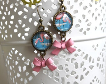 Earrings Flamingo with bow