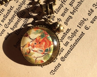 Necklace pendant - squirrel necklace with squirrel