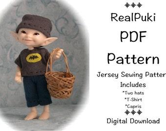 PDF Jersey Sewing Pattern for mini BJD Fairyland Real Puki  2nd version