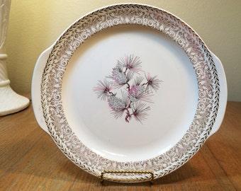 Lifetime China Pine Cone Tabbed Cake Plate Vintage 1950s Midcentury Semi-vitreous Alliance Ohio