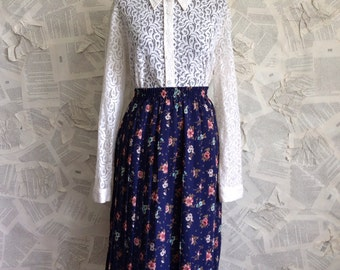 1980s Navy Blue Pleated Floral Midi
