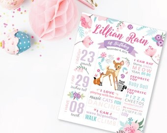 Milestone Wall Art, Woodland 1st Birthday Print - 1st Birthday Sign, Baby Keepsake, Deer Milestone Sign, Birth Stats, Printable, Pink-Purple