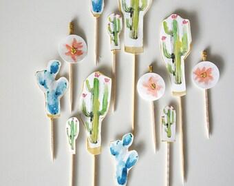 Cactus Cupcake Toppers / Party Pick Set - One Dozen