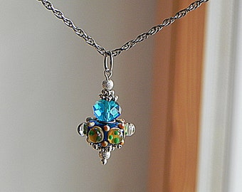 Blue Lampwork Neklace Pendant Necklace Lampwork Necklace Silver Tone Necklace Blue Glass Pendant Art Glass Pendant Crystal Necklace