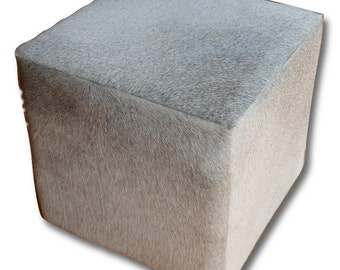 "Hair-on Cowhide Cube Ottoman Footstool - Grey Cowhide Furniture Cube Size: 16""X16""X16"" High"