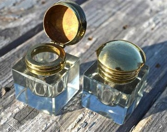 A pair of antique style faceted glass and brass inkwells inkwell writing box replacement dip ink pen