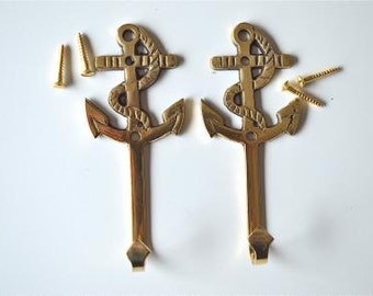 A pair of solid brass antique style nautical ships anchor coat hooks 2017