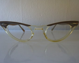 Vintage Cat Eye Irriedescent Clear Eyeglass Frames By American Optical - FREE SHIPPING