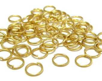 100x Gold plated Jump Rings 7 mm