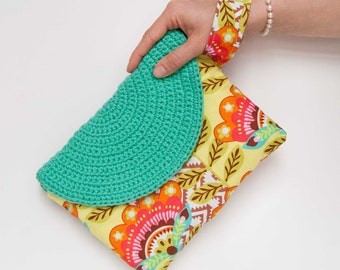 Crasty Flap/ Alfa / Summer pouch bag for her in a floral fabric, with changeable crochet flap