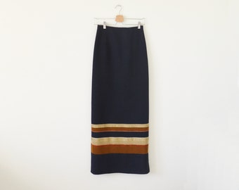 Vintage maxi skirt / navy stripe long skirt / handwoven skirt
