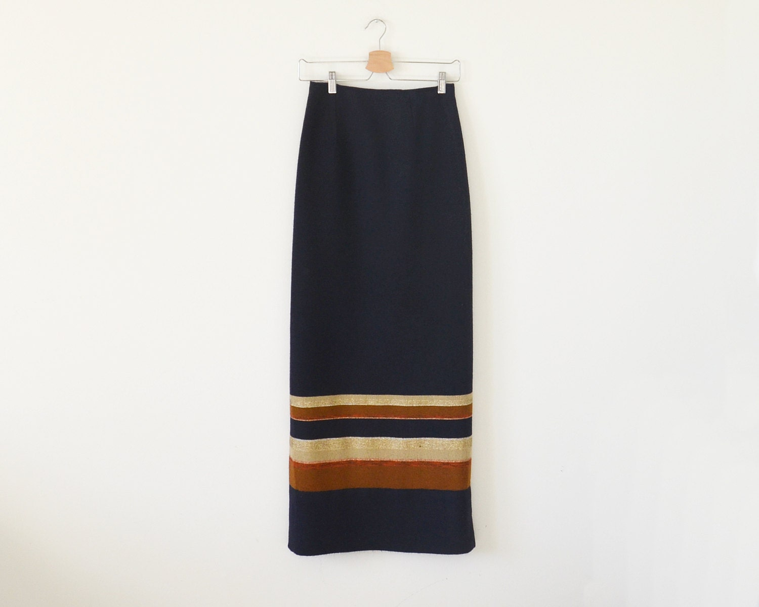 vintage maxi skirt navy stripe skirt handwoven skirt