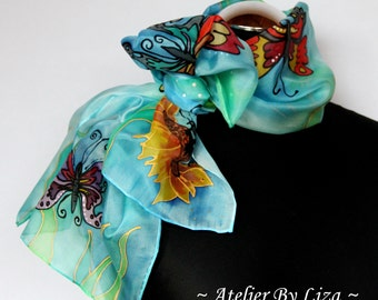 Hand Painted Silk scarf Silk scarf With Butterflies