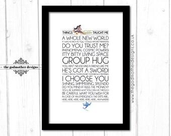 Aladdin - Disney Typography Print - Quotes & Lyrics - PRINT