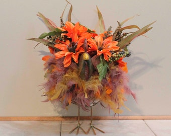 Fall Wire Basket Feathered Rooster Floral Arrangement Pams DeZines Fall Rooster Floral Arrangement (item 283)