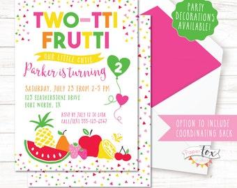Twotti Frutti Birthday Invitation / Twotti Frutti Party / Tutti Fruitti Party / Tutti Frutti Invitation / Fruit Birthday / Twotti Fruitti