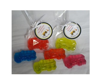 Construction Truck Birthday Party Favors - Custom Made Favors for Kids Birthday or Baby Shower Scented Soap Gifts | Pack of 10