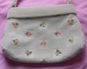 Vintage Bead Corde Beaded Pink Rose Summer Formal Purse Handbag Pocketbook