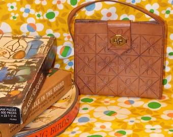 Brown Tooled Leather Purse Handbag Pocketbook Vintage 1970s