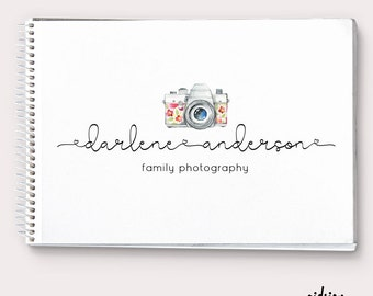 Photography Logo Camera Logo Watercolor Logo Floral Camera Heart Logo Calligraphy Logo