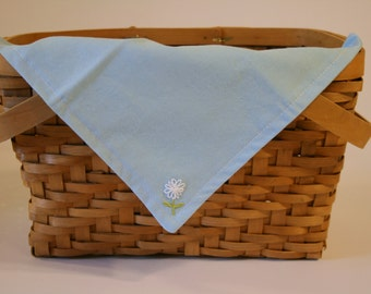 Hand Embroidered Cloth napkin | Snack mat - Blue with white flower