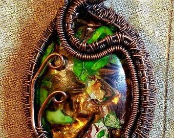 Copper wrapped semi precious gemstone - Sea Sediment green Jasper & Copper pendant necklace