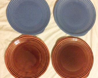 Vintage 1937, 1938 Edwin M. Knowles Yorktown Shape Dinner Plates. Yellow, Blue, Mauve, Brunt Orange, Fiesta Colors. Vintage China.