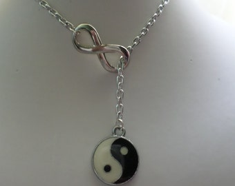 woman up and down endless necklace and taò, yin and yang fashion
