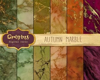 Autumn Marble Digital Paper, gold vein marble textures, stone textures, digital printable scrapbook paper, scrapbooking marble backgrounds
