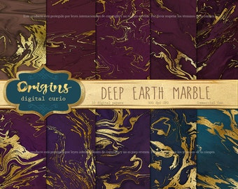 Deep Earth Marble Digital Paper - gold marble, gold vein natural stone textures, marble textures, marble digital scrapbook paper