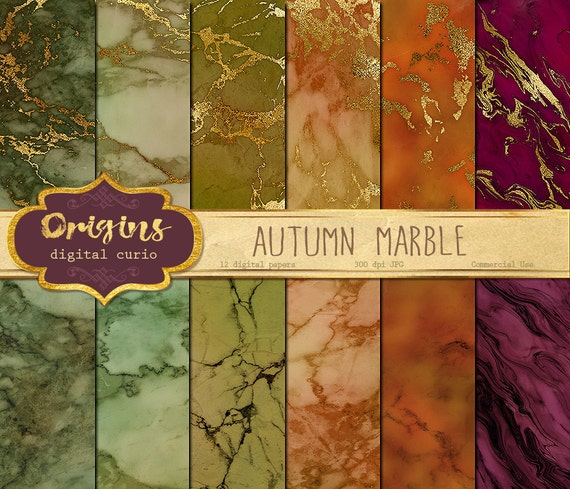 autumn marble digital paper gold vein marble textures stone