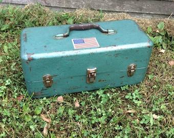 Vintage Tackle Box, Green Tackle Box, Large Tackle Box, Two Tiered Tackle Box, Tool Box, Vintage Tool Box